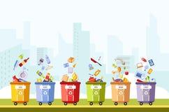 Μετάλλων, οργανικού και αποβλήτων διάνυσμα γυαλιού και πλαστικού, εγγράφου και απεικόνιση αποθεμάτων