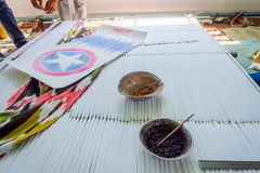 Μετάξι θανάτου με τα παραδοσιακά του Ουζμπεκιστάν σχέδια Στοκ Εικόνα