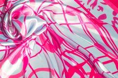 Μετάξι σύστασης υποβάθρου Το ύφασμα είναι άσπρο στο χρώμα χάλυβα, Στοκ Φωτογραφίες