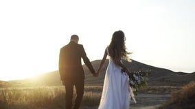 Μετά από το παντρεμένο ζευγάρι στον ξηρό τομέα χλόης στο ηλιοβασίλεμα απόθεμα βίντεο