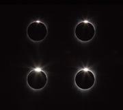 Μετά από το σύνολο το δαχτυλίδι διαμαντιών επανεμφανίζεται στην ηλιακή έκλειψη Στοκ Εικόνες