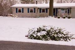 Μετά από το χριστουγεννιάτικο δέντρο από τη συγκράτηση μπροστά από το σπίτι στοκ εικόνες
