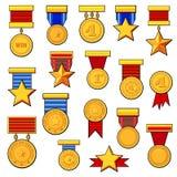 Μετάλλια κινούμενων σχεδίων καθορισμένα Στοκ φωτογραφίες με δικαίωμα ελεύθερης χρήσης