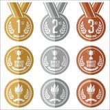 Μετάλλια με την κορδέλλα επίπεδος χρυσά μετάλλια χαλκού που τίθενται ασημένια Στοκ εικόνες με δικαίωμα ελεύθερης χρήσης