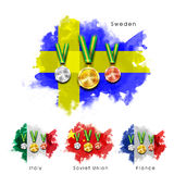 Μετάλλια με τις σημαίες χωρών συμμετεχόντων Στοκ Εικόνες