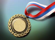 Μετάλλιο μετάλλων με την κορδέλλα tricolor Στοκ φωτογραφίες με δικαίωμα ελεύθερης χρήσης