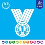 Μετάλλιο με το στεφάνι δαφνών εικονίδιο Στοκ εικόνα με δικαίωμα ελεύθερης χρήσης