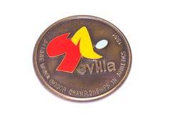 Μετάλλιο συμμετοχής παγκόσμιων εσωτερικό πρωταθλημάτων αθλητισμού της Σεβίλλης 1991, obverse Kouvola, Φινλανδία 06 09 2016 στοκ εικόνες