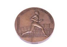 Μετάλλιο συμμετοχής παγκόσμιων πρωταθλημάτων αθλητισμού του Ελσίνκι 1983, obverse Kouvola, Φινλανδία 06 09 2016 στοκ φωτογραφία με δικαίωμα ελεύθερης χρήσης