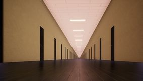 Μετακίνηση μέσα σε έναν μακρύ διάδρομο διανυσματική απεικόνιση