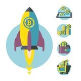 Μεταλλεία Bitcoin Ένας σωρός των νομισμάτων bitcoin Σύγχρονες επιχείρηση και χρηματοδότηση επίσης corel σύρετε το διάνυσμα απεικό ελεύθερη απεικόνιση δικαιώματος