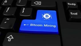 Μεταλλεία Bitcoin γύρω από την κίνηση στο κουμπί πληκτρολογίων υπολογιστών φιλμ μικρού μήκους