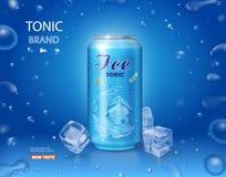 Μεταλλικός μπορεί με το τονωτικούς μη αλκοολούχο ποτό και τον πάγο να κυβίσει στο μπλε υπόβαθρο διανυσματική απεικόνιση
