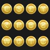 Μεταλλικός χρυσός εικονιδίων συμβόλων νομισμάτων νομίσματος με τα κυριώτερα σημεία καθορισμένα απεικόνιση αποθεμάτων