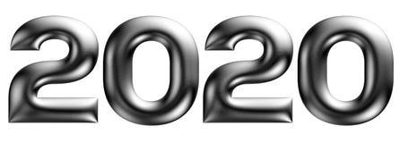 Μεταλλικό αλφάβητο χρωμίου, νέο έτος 2020, τρισδιάστατη απεικόνιση διανυσματική απεικόνιση