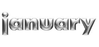 Μεταλλικό αποτυπωμένο σε ανάγλυφο αλφάβητο, μηνιαίο ημερολόγιο, Ιανουάριος, τρισδιάστατη απεικόνιση διανυσματική απεικόνιση