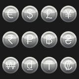 Μεταλλικό ασήμι εικονιδίων συμβόλων νομισμάτων νομίσματος με τα κυριώτερα σημεία καθορισμένα απεικόνιση αποθεμάτων