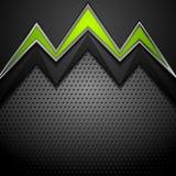 Μεταλλικό διατρυπημένο υπόβαθρο τεχνολογίας με τα πράσινα βέλη διανυσματική απεικόνιση