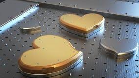 Μεταλλικό κιβώτιο δώρων μορφής καρδιών Στοκ Εικόνες