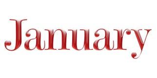 Μεταλλικό κόκκινο αλφάβητο, μηνιαίο ημερολόγιο, Ιανουάριος, τρισδιάστατη απεικόνιση ελεύθερη απεικόνιση δικαιώματος