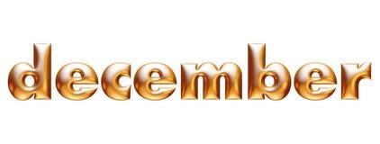 Μεταλλικό χρυσό αλφάβητο, μηνιαίο ημερολόγιο, Δεκέμβριος, τρισδιάστατη απεικόνιση ελεύθερη απεικόνιση δικαιώματος