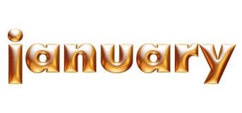 Μεταλλικό χρυσό αλφάβητο, μηνιαίο ημερολόγιο, Ιανουάριος, τρισδιάστατη απεικόνιση ελεύθερη απεικόνιση δικαιώματος
