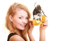 μεταμφίεση Όμορφο κορίτσι στη μάσκα καρναβαλιού στοκ εικόνα
