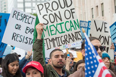 Μετανάστευση ημέρα Μάρτιος, στο κέντρο της πόλης Λος Άντζελες Στοκ φωτογραφία με δικαίωμα ελεύθερης χρήσης