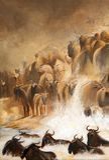 Μετανάστευση Wildebeests σε Masai Mara, ακρυλική ζωγραφική Στοκ φωτογραφίες με δικαίωμα ελεύθερης χρήσης
