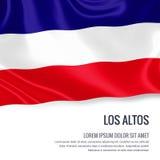 Μεταξωτή σημαία του Los Altos που κυματίζει σε ένα απομονωμένο άσπρο υπόβαθρο με την άσπρη περιοχή κειμένων για το μήνυμα αναφορώ ελεύθερη απεικόνιση δικαιώματος
