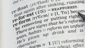 Μεταρρύθμιση, μολύβι που δείχνει τον καθορισμό στο αγγλικό λεξικό, που αλλάζει την κρατική διαταγή απόθεμα βίντεο