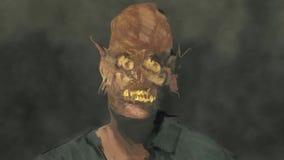 Μετατόπιση του μεγάλου βίντεο πορτρέτου τέχνης έννοιας αποκριών φρίκης δαιμόνων ματιών προσώπου απεικόνιση αποθεμάτων