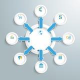 Μεταφέροντας βέλη κύκλων Infographic Στοκ εικόνα με δικαίωμα ελεύθερης χρήσης