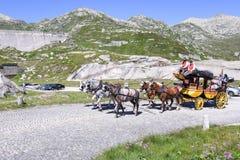 Μεταφορά αλόγων στο πέρασμα του ST Gotthard, Ελβετία Στοκ Εικόνες
