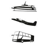 Μεταφορά, διανυσματική απεικόνιση ταξιδιού της βάρκας, αεροπλάνο, λεωφορείο Στοκ Εικόνες
