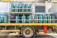 Μεταφορά και αποθήκευση κυλίνδρων αερίου Στοκ Εικόνα