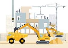 Μεταφορά και εργαζόμενοι στο εργοτάξιο οικοδομής διανυσματική απεικόνιση