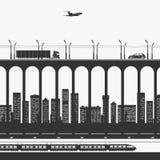 Μεταφορά και μεταφορά με φορτηγό στην πόλη απεικόνιση αποθεμάτων