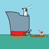 Μεταφορά νερού Rower και σκαφών της γραμμής Στοκ Εικόνες