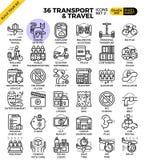 Μεταφορά λογιστική & εικονίδια περιλήψεων ταξιδιού Στοκ Εικόνα