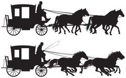 Μεταφορά που σύρεται από τέσσερις σκιαγραφίες horse's Στοκ εικόνα με δικαίωμα ελεύθερης χρήσης
