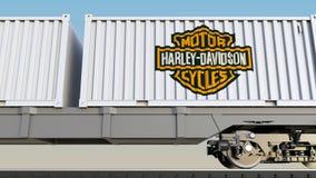 Μεταφορά σιδηροδρόμων των εμπορευματοκιβωτίων με τη Harley-Davidson, INC ΛΟΓΟΤΥΠΟ Εκδοτική τρισδιάστατη απόδοση ελεύθερη απεικόνιση δικαιώματος