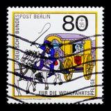 Μεταφορά, ταχυδρομική ιστορία, ευημερία: Ταχυδρομικές παραδόσεις serie, circa 1989 Στοκ Εικόνες