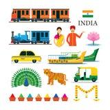 Μεταφορά της Ινδίας και εικονίδια αντικειμένων ζώων καθορισμένα Στοκ εικόνες με δικαίωμα ελεύθερης χρήσης
