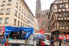 Μεταφορά του Στρασβούργου που παραλύεται κατά τη διάρκεια της διαμαρτυρίας Στοκ εικόνες με δικαίωμα ελεύθερης χρήσης