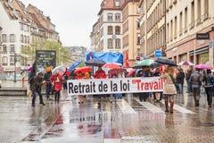 Μεταφορά του Στρασβούργου που παραλύεται κατά τη διάρκεια της διαμαρτυρίας Στοκ φωτογραφίες με δικαίωμα ελεύθερης χρήσης
