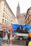 Μεταφορά του Στρασβούργου που παραλύεται κατά τη διάρκεια της διαμαρτυρίας Στοκ εικόνα με δικαίωμα ελεύθερης χρήσης