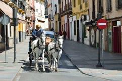 Μεταφορά Horsed στην ισπανική πόλη Στοκ Φωτογραφία