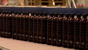 Μεταφορέας ζυθοποιείων με τα πλαστικά μπουκάλια μπύρας απόθεμα βίντεο