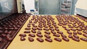 Μεταφορέας με τις καραμέλες σοκολάτας Εργοστάσιο καραμελών απόθεμα βίντεο